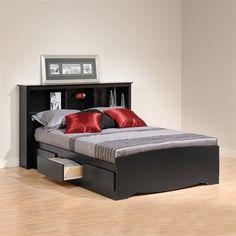 $585   Espresso Queen, *laminated Composite Woods* Prepac Furniture Mateu0027s  Platform Storage Bed