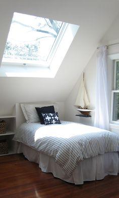 skylight for kids bedrooms Attic Rooms, Attic Spaces, Upstairs Bedroom, Kids Bedroom, Skylight Bedroom, Big Windows, 2nd Floor, Girl Room, My Dream Home