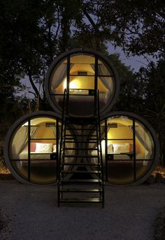 Tubo Hotel in Mexico, made of concrete industrial tubes