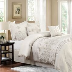 Shop for Bedding Set-Registry Collection 7 Piece Comforter Set, Full/Queen. Get free delivery On EVERYTHING* Overstock - Your Online Fashion Bedding Store! Get in rewards with Club O! Luxury Comforter Sets Queen, Elegant Comforter Sets, Best Bedding Sets, King Comforter, Console, Cool Comforters, Bedspreads, Sweet Home, Ruffle Bedding