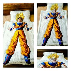Dragon Ball Themed Bed Cover: Super Saiyan Son Goku by Shukakuchan - Visit now for 3D Dragon Ball Z compression shirts now on sale! #dragonball #dbz #dragonballsuper
