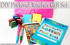 I love this! Make a DIY Pretend Teacher Kit with some basic office and teacher supplies. Great birthday or Christmas gift idea for kids.