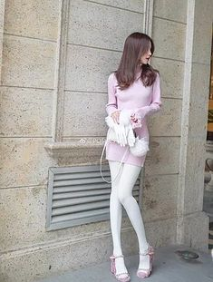 Fashion Tights, Cozy Fashion, Tights Outfit, Tween Fashion, Women's Fashion, Purple Tights, White Tights, Outfits For Teens, Girl Outfits