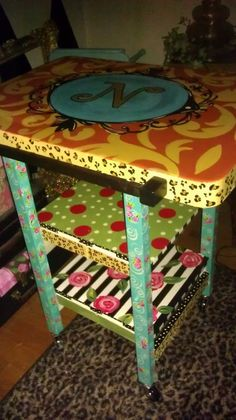 Hand Painted ~Rolling Cart~