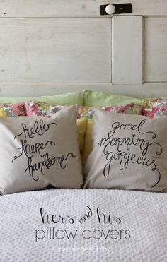 His and hers pillow covers made with a Sharpie by @onekriegerchick