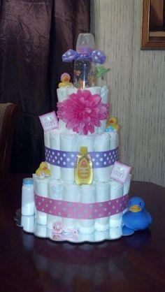3 Tier Girl Diaper Cake