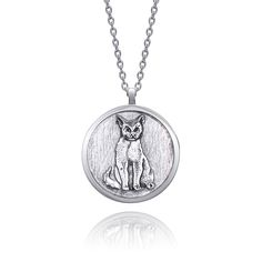 Cat Necklace, Pendant Necklace, Cat Jewelry, Silver Rounds, Black Backgrounds, Pendants, Sterling Silver, Chain, Handmade