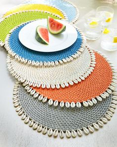 Mode Living Capiz Placemats, Set of Capiz Placemats, Set of 4 from Mode Living at Horchow, where you'll find new lower shipping on hundreds of home furnishings and gifts. Jute Crafts, Crochet Crafts, Diy And Crafts, Linen Placemats, Linen Tablecloth, Tablecloths, Crochet Motif, Crochet Doilies, Crochet Placemats