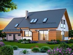 Zdjęcie projektu Marsala z wykuszem Facade House, Marsala, Home Fashion, House Plans, Exterior, Outdoor Structures, Cabin, Mansions, House Styles