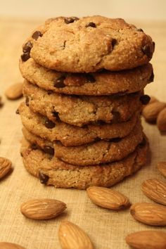 Almond Chocolate Chip Protein Cookies - These are #GlutenFree, #DairyFree, and #Paleo. They are also loaded with protein. Ingredients: 2 cups almond flour, 1/3 cup coconut oil, 1 tbsp pure vanilla extract, ...