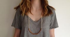 Copper Curved Bar Necklace with Rope: Copper Standard-Off White by Maslo Jewelry