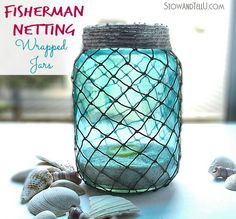fisherman-netting-wrapped-jars-how-to-at-stowandtellu.com Nice idea but I'd use a tidier method