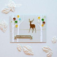 Thanksgiving Birches Card by @JulieEbersole + YouTube video. #ellenhutsonllc #ellenhutsonllcblog