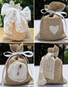 Burlap Wedding decorations are easy and affordable, use burlap bags for your wedding favors and you will have a unique favor idea. For some rustic renaissance , burlap favor bags are perfect for barn weddings, vineyard wedding and outdoor weddings. Creative Wedding Favors, Wedding Favor Bags, Unique Wedding Favors, Diy Wedding, Lace Wedding, Garden Wedding, Wedding Decoration, Wedding Cakes, Top Wedding Trends