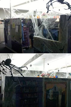cubicles happy halloween and crime scenes on pinterest charming desk decorating ideas work halloween