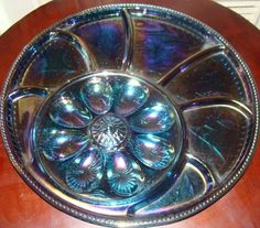 Blue Indiana Carnival Glass