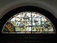 Flemington Post Office, Melbourne Australia, stained glass windows with flowers and birds, Architect J R Brown, circa 1890 Mosaic Glass, Glass Art, Ascot Vale, Old Windows, Local History, Melbourne Australia, Stained Glass Windows, Post Office, Pond