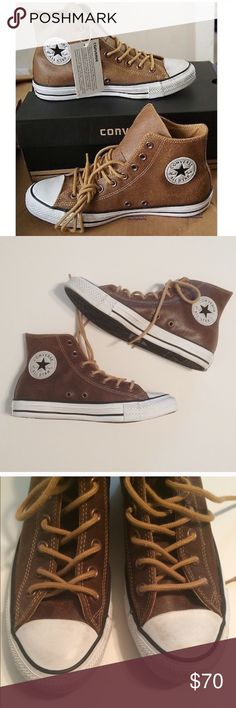 64d32cfa125316 Converse leather High top sneakers Converse chuck Taylor high top sneakers  - brown leather - pre loved but in good condition!