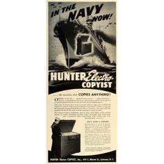 1942 Ad Hunter Electro Copyist Copier Machine World War II