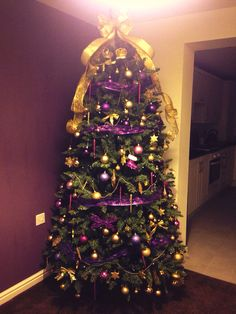 My purple and gold Christmas tree