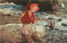 Old School Fly Fishing (it seems that in the 50s-60s, ALL fly fishing anglers had to wear a red and black plaid flannel shirt!)