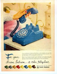 Pacific Colour Telephone #telephone#1950s#advertising. I've never seen this colour before - so cool.
