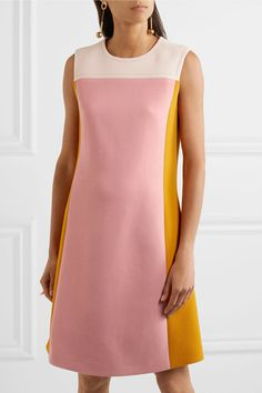 Off-white, pink and saffron wool-crepe Concealed hook and zip fastening at back 100% wool; lining: 94% silk, 6% elastane Dry clean Made in Italy
