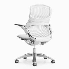 Understanding that sitting still and looking forward is just one of the ways to sit, we introduced Generation by Knoll®, the ergonomic chair that moves with you. Ergonomic Computer Chair, Ergonomic Chair, Chair Design, Furniture Design, Cool Office Desk, Office Chairs, Floor Protectors For Chairs, French Chairs, Swivel Armchair
