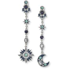 Sun & Moon Dangle Earrings - Women's Romantic & Fantasy Inspired... ($13) ❤ liked on Polyvore featuring jewelry, earrings, dangle earrings, boho style jewelry, bohemian earrings, goth jewelry and long earrings