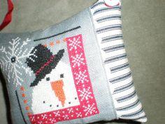 Folky Snowman cross stitch pillow ornament by PrimitivePotpourri, $12.00