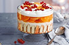 Feast your eyes on this spectacular pud of Aperol-soaked sponge seasonal clementines prosecco jelly & cream. Find more dessert recipes at Tesco Real Food Trifle Dish, Trifle Desserts, Dessert Recipes, Trifle Cake, Cake Recipes, Sweet Recipes, Xmas Food, Christmas Desserts, Christmas Recipes