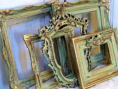 On hold till Wed. grouping shabby chic soft apple green touches of gold hand painted distressed OOAK Anita Spero. via Etsy. Empty Frames, Frames On Wall, Gold Frames, Shabby Chic Bedrooms, Shabby Chic Furniture, Vintage Photo Frames, Homemade Paint, Rustic Frames, Distressed Painting