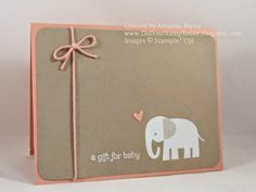 handmade baby card from Did You Stamp Today? ... clean and simple ... kraft and cantaloupe ... elephant ... Stampin' Up!