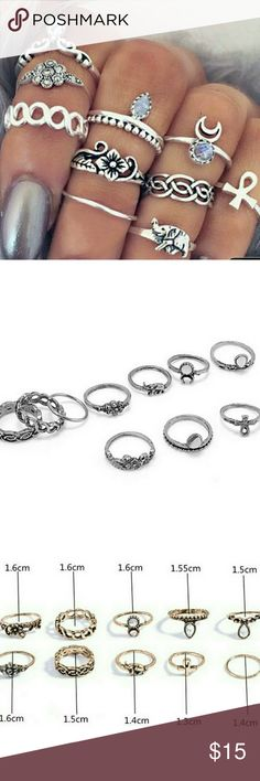 10 Piece Woman's Tribal Knuckle Ring Set 10 Piece Woman's Tribal Knuckle Ring Set  Great gift idea   Sizes of individual rings in Photo #3  Alloy Metal with Stones Life by Design  Jewelry Rings