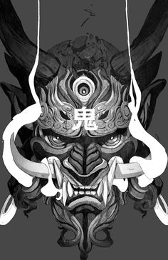 Your one stop shop for finding and sharing a variety of amazing, thought provoking, and stunning wallpapers for your smartphones, tablets & other. Japanese Mask, Japanese Tattoo Art, Japanese Tattoo Designs, Aesthetic Japan, Aesthetic Art, Wallpaper Samurai, Oni Mask Tattoo, Samurai Artwork, Plakat Design