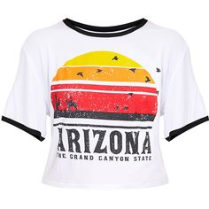 Arizona Printed White Contrast Jersey Crop top ($40) ❤ liked on Polyvore featuring tops, jersey top, white top, jersey crop top, cut-out crop tops and white jersey