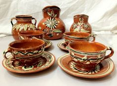 coffee set from Lima, Peru. Mexican Crafts, Mexican Folk Art, Mexican Style, Girls Tea Party, Mexican Kitchens, Coffee Set, Tea Set, Dinnerware, Tableware