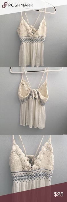 Free People Crochet Top White tank top with blue stitching. Never been worn and in great condition! Free People Tops Tank Tops