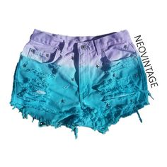 High Waisted Puple and Teal Dyed Hipster Festival Fringed Denim Shorts ($18) ❤ liked on Polyvore
