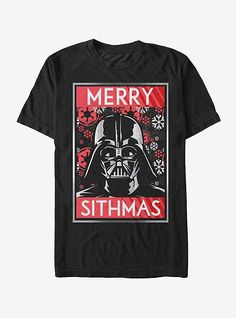 Star Wars Christmas Sithmas Darth Vader Mens Graphic T Shirt, Men's, Size: Medium, Black Stormtrooper T Shirt, Darth Vader T Shirt, Star Wars Christmas, Star Wars Outfits, Star Fashion, Mens Tees, Graphic Tees, Stars, Black Star