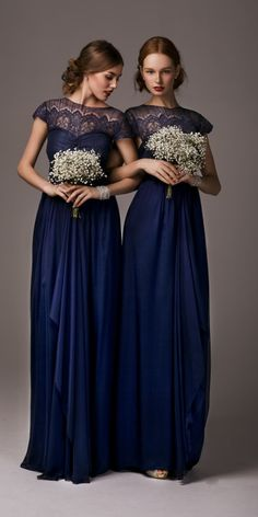 Beautiful navy bridesmaids dresses - indianna lace maxi