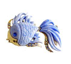 Hattie Carnegie Angel Fish Brooch Blue Lucite - Vintage Lane Jewelry - 1