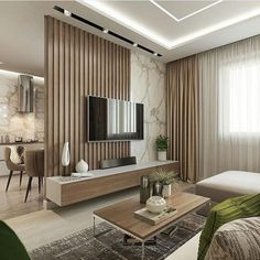 living room design ideas to give you a new style with a cozy and cool tv wall design decoration with a limited budget Living Room Partition Design, Room Partition Designs, Living Room Tv Unit Designs, Living Room Divider, Tv Wall Design, Cozy Living Rooms, Home Living Room, Interior Design Living Room, Modern Interior