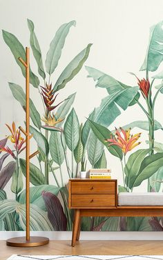 Welcome fresh tropicals into your space full of stylish tone and detail with this tropical oasis wallpaper. Minimalist Wallpaper, Modern Wallpaper, Print Wallpaper, Pattern Wallpaper, Wallpaper Murals, Green Leaf Wallpaper, Tropical Wallpaper, Botanical Wallpaper, Mural Art