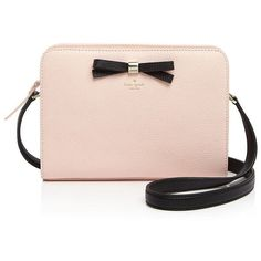 kate spade new york Henderson Street Fannie Crossbody ($270) ❤ liked on Polyvore featuring bags, handbags, shoulder bags, kate spade, pink crossbody purse, crossbody purse, kate spade handbag and pink bow purse