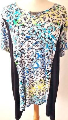 AVENUE Neon Black Asymmetrical Tunic Top Plus Sz 18 20 2X Slinky Stretch Viscose #Avenue #Tunic #Casual