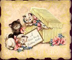 EP 5010 Birthday Cats, Happy Birthday, Vintage Cat, Vintage Images, Art Types, Vintage Birthday Cards, Birthdays, Advertising, Greeting Cards