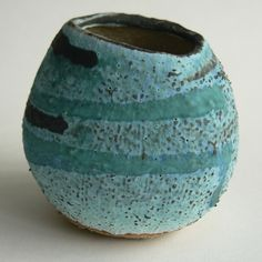 Ceramic pebble vase hand built from stoneware clay. Made from a buff grogged clay it has been fired to 1240 C and is finished with a dry turquoise glaze outside and a clear shiny glaze inside so it can easily be used to hold water. Rock And Pebbles, Stoneware Clay, Summer Days, Wales, Rocks, Ceramics, Ceramica, Pottery, Welsh Country
