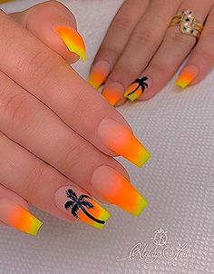 56 Trendy Summer Acrylic Coffin Nails Design And Color Ideas - Page 39 of 56 - Latest Fashion Trends For Woman 56 Trendy Summer Acrylic Coffin Nails . Neon Nail Designs, Popular Nail Designs, Acrylic Nail Designs, Coffin Nails Designs Summer, Orange Nail Designs, Nail Designs Spring, Summer Acrylic Nails, Best Acrylic Nails, Summer Nails