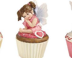 Cupcake Fairy Collectible Trinket Box Pink Holding face $10.95